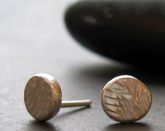 """tiny hatch textured recycled silver """"Bliss"""" stud earrings READY TO SHIP"""