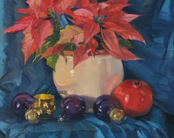 "Sale! Art Christmas painting ""Pink Poinsettia and Pomegranate"" original oil on canvas 11x14in"