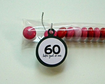 60th Birthday Party Favors - 60 Looks Good on Me - Pink, Black, Set of 12 Candy Treat Bags