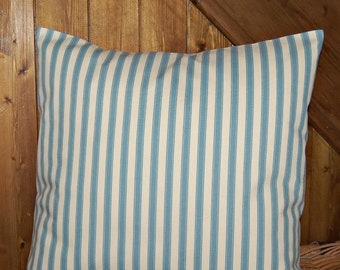 blue and cream ticking stripe cushion cover, decorative pillow cover 16 inch