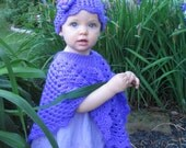 Baby's Poncho and Hat Set, Purple Baby Poncho, Crochet Poncho,  Toddler's Poncho and Hat, One Size Fits 1T-2T,  In Mother's Garden