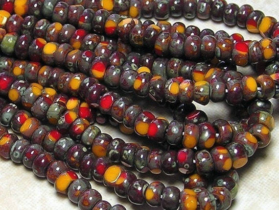 6/0 3 Cut Opaque 2 Tone Tangerine and Red Picasso Firepolished Czech Glass Seed Bead Strand (C150)