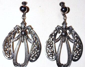 Vintage Pewter Art Deco Screw back Earrings