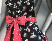 Polka Dot Pirate Apron, Pin-Up, Retro, Pirate,Well Made, Skulls, Scotch Guarded