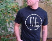 Men's Muscle Car T-Shirt Gear Shift Tee on Black