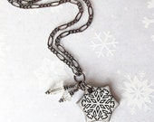 20% OFF SALE! Ceramic Snowflake Necklace. Pendant. Snow White. Black Porcelain. Glass Beads. Clay. Gunmetal Chain. Winter Jewelry. Snow