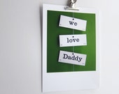 Dad vintage flash cards we love Daddy typography word art print fathers day photograph A4 print Typescale home decor