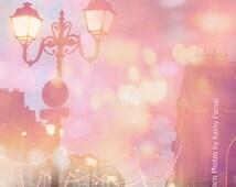 Paris Photography, Dreamy Paris Street Lamps, Paris Fairy Lights, Paris Bokeh Fairy Lights Street Photos, Paris Christmas Lights Photography