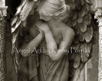 Angel Photography, Angel In Prayer, Guardian Angel Art Prints, Praying Angel Print, Spiritual Angel, Angel Praying Art, Guardian Angel Print