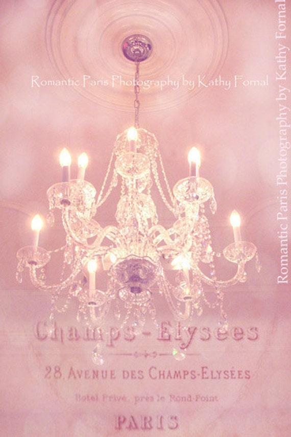 Paris Photography, Paris Pink Crystal Chandelier, Sparkling Pink Chandelier, Paris Decor, Pink Chandelier Art, Paris Baby Girl Nursery Decor