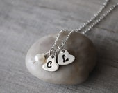 Heart Necklace - Two Initial Necklace with Freshwater Pearl - Presonalized Initial Charm -  Mothers Necklace