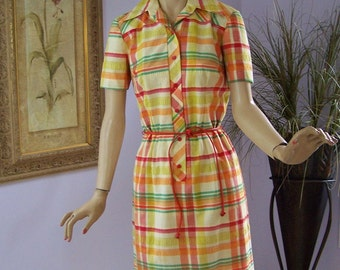 Vintage 70s Day Dress Nelly Don Yellow and Orange Plaid Day Dress w Leather Belt