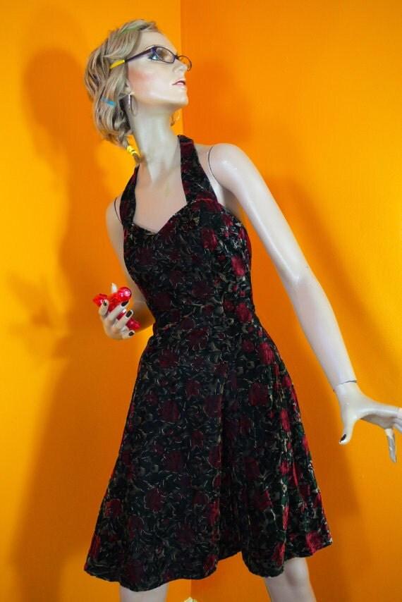 70s Halter Disco Dress / Printed Velvet (s)