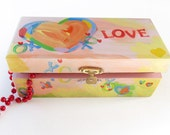 Sweet 16 Hand painted heart themed Jewelry Box - Hand Painted Heart Box - One of a kind - Solid Wood - WalterSilva