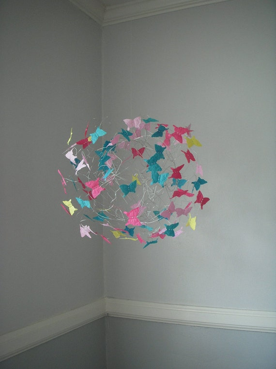 Butterfly Nursery Decor, Mobiles, Butterfly Mobile, Baby Girl Mobiles, Children's Room Decor, Teal and Pink