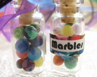 Miniature Marbles Jar - Glass Bottle Necklace - Mini Marble Collection