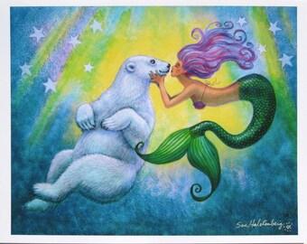 Mermaids Polar Bear Kiss mermaid art fantasy poster print of cute whimsical painting 11x14