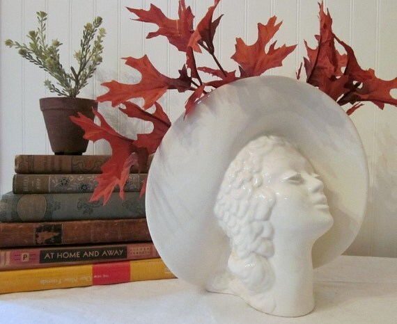 Vintage Art Deco Lady Head Planter Bust. Glamour Girl Vase. Large creamy white, shabby romantic cottage style, every season
