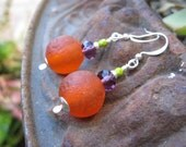 Orange Jewelious Earrings - Rustic Recycled African Glass Beads w Czech Glass Beads, Hand-Hammered Silver Headpins & Sterling Ear Wires