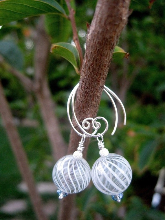 White Ribbon Earrings - Venetian-Style Hand-Blown Glass, Sterling Stardust Balls, Blue Opal Prism Crystals & Handmade Sterling Ear Wires