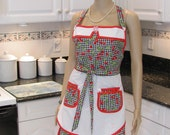 Double Apron, Bella Claire, retro  style , double skirted, sexy, Cherries in a black and white check print with red cherries