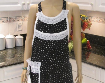 HANDMADE FULL APRON Black and white dots,  with washcloth, designer style, white trim with a pocket and washcloth