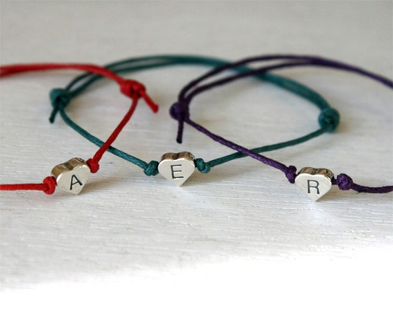 Sterling Silver Heart Initial Bracelet / Heart Initial Anklet (many colors to choose)