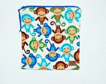 Sandwich Size Reusable Bag - Monkey Business