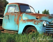 Truck Art - Old Farm Truck Print - Teal Turquoise Chevy Vintage - Chevrolet man-cave art - 8x15 Panoramic Photograph - Interior Design Print