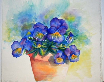 Pansy Watercolor art of Viola Flowers Watercolour Purple Pansies in Clay Fine Art Home Decor 8x8 10x10 12x12 square watercolor print
