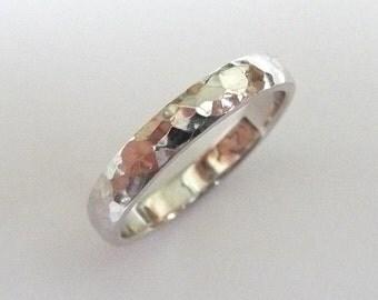 White gold wedding ring women men wedding band hammered polished 3mm wide
