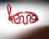 Red Love Ring Wire Wrapped Dainty Unique Gift