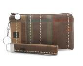 Boho clutch - bridesmaid gift set - rustic small purse - brown wristlet - zipper pouch & key fob - modern geometric fabric bag for women