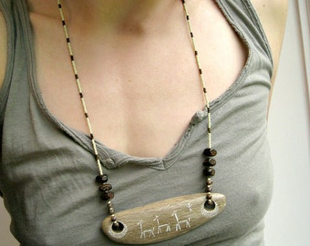 Tribal Driftwood Necklace, rustic Bohemian statement necklace with drift wood pendant hand-painted with cave art motif