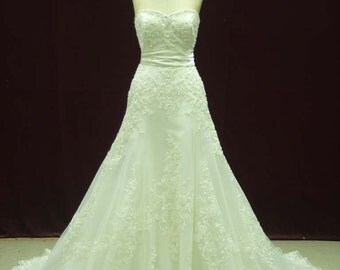 Custom Wedding Dress with French Lace Trumpet Style Custom Made to your Measurements