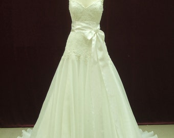 Fit and Flair Wedding Dress with Spaghetti Straps Custom Made to your Measurements