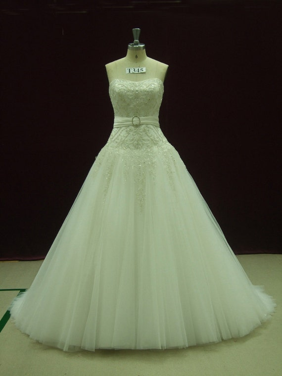Gorgeous Fairytale Wedding Dress with Crystallized Embroideredy Made to your Measurements