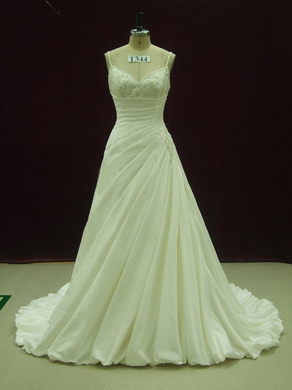 Fabulous Slimming Wedding Dress with Straps and Pleated Waist Custom Made to Your Measurements