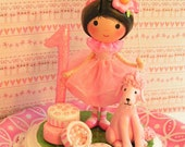Made to Order Paris  Birthday  Cake Topper  Decoration Toddler Kids Baby Clothespin Doll 1st Birthday Baby Little Girl Gift   Pink Poodle