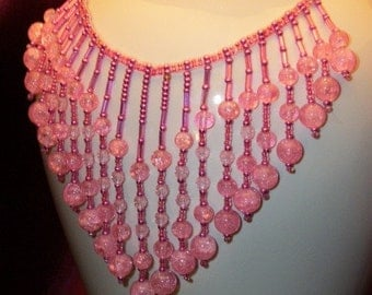 Shades of Pink Beaded Bib Necklace Tassel Jewelry for Women FUN Gift Ideas for her