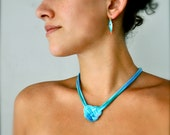 Heart Necklace - Turquoise Ombre - Recycled Fabric Jewelry