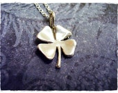 Silver Four Leaf Clover Necklace - Sterling Silver Four Leaf Clover Charm on a Delicate 18 Inch Sterling Silver Cable Chain