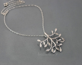 Silver Tree Necklace, tree of life jewelry gift, sterling silver chain, dainty branch delicate charm pendant, holidays gift, by balance9