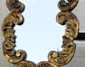1800s Wall / Vanity Mirror 13.5 x 21 Hand Carved Tres Chic Gilded Wood Frame One of a Kind
