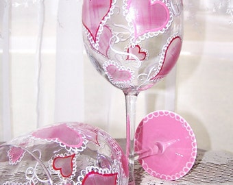 Valentine Heart Wine Glasses Set of Two