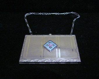 Vintage Compact Purse 1910s Compact Purse Powder Compact Mirror Compact Dance Purse Guilloche Compact Wristlet Compact