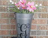 """Vase French 11"""" Pewter and Personalized"""