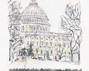 US Capitol in the snow.  Print from an original watercolor.