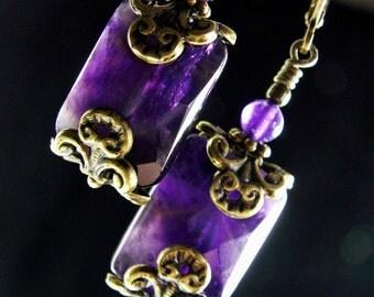 Purple Filigree Victorian Earrings, Dark Amethyst Crystal Gemstone Edwardian Bridal Style Drops, Antiqued Brass, Titanic Temptations Jewelry