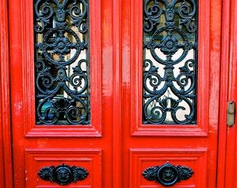 Red Door Print - Paris Door Photography - Red and Black Photograph - French Decor Parisian Print Paris Picture Paris France Wall Art